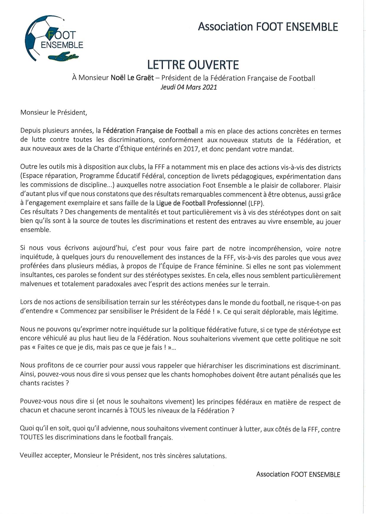 Lettre ouverte à Noël  Le Graët