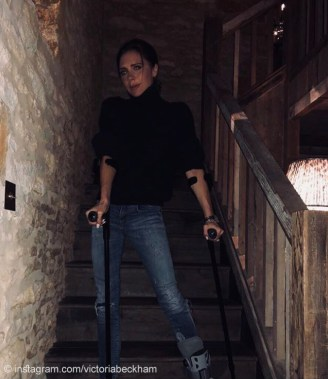 Victoria Beckham on foot brace