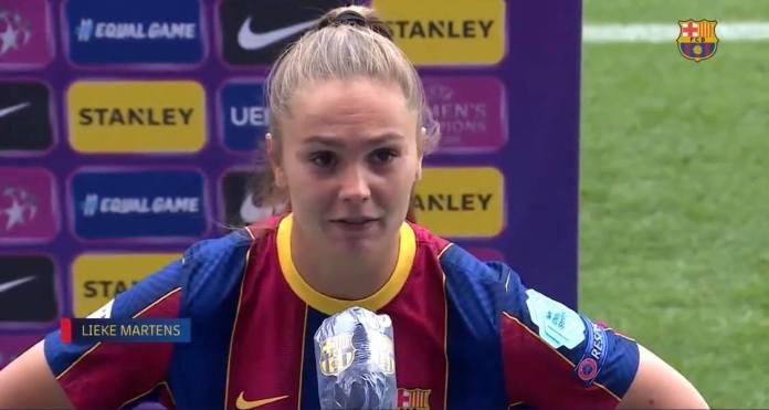 Lieke Martens, double buteuse lors de la victoire (2-1) de Barcelone face au PSG en demi-finale de Ligue des championnes