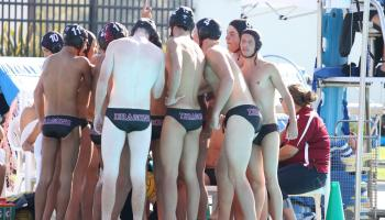The boys' water polo team cheers before the game. Credit: Sarah Kagan/The Foothill Dragon Press