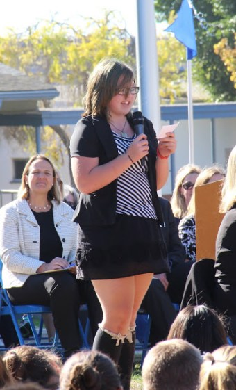 Cabrillo student Valerie Vasquez speaks of a fond memory she has of Anne Morningstar during Monday's memorial for the teacher. Credit: Chloey Settles/The Foothill Dragon Press