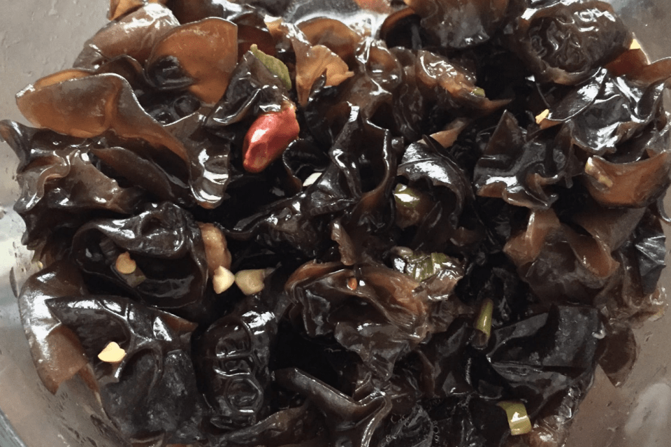 Wood Ear Fungus Salad is eaten with black vinegar, soy sauce dressing. Credit: Rachel Chang / The Foothill Dragon Press