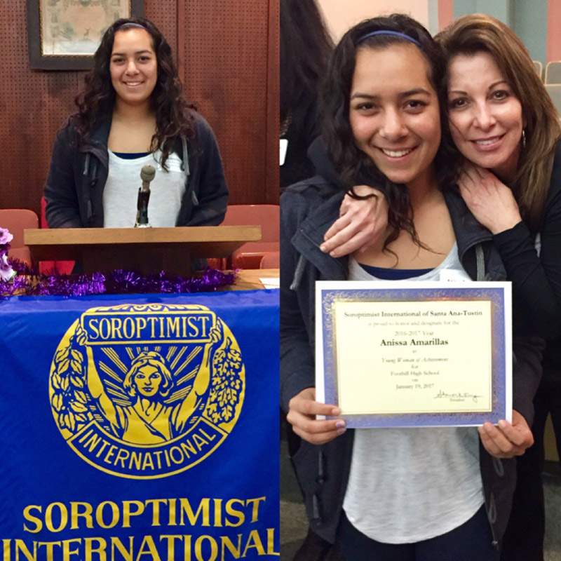 Anissa Amarillas Soroptimist Young Woman of the Month Jan 2017