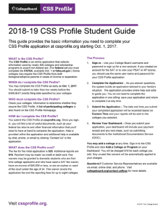 CSS Profile Student Guide
