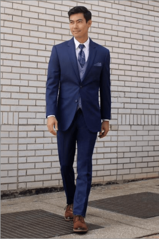 ultra slim navy suit