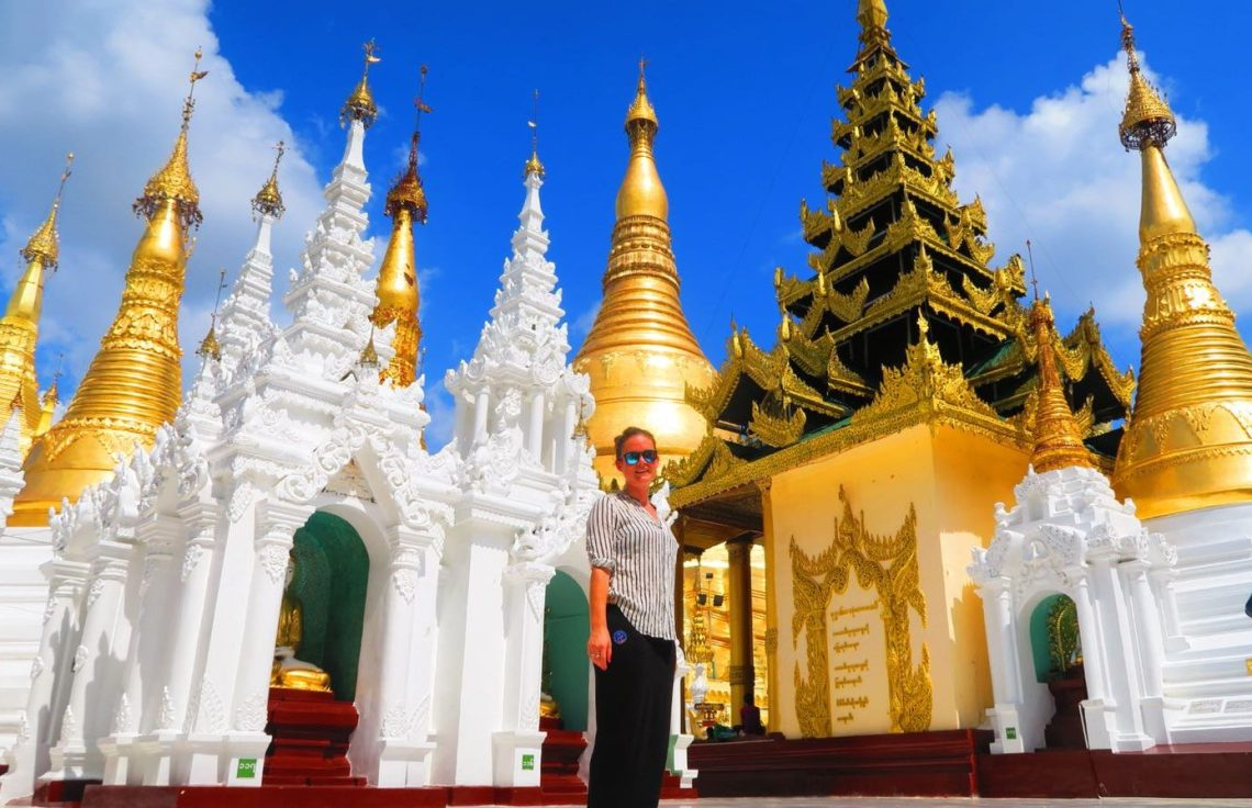 Standing in front of Shwedagon