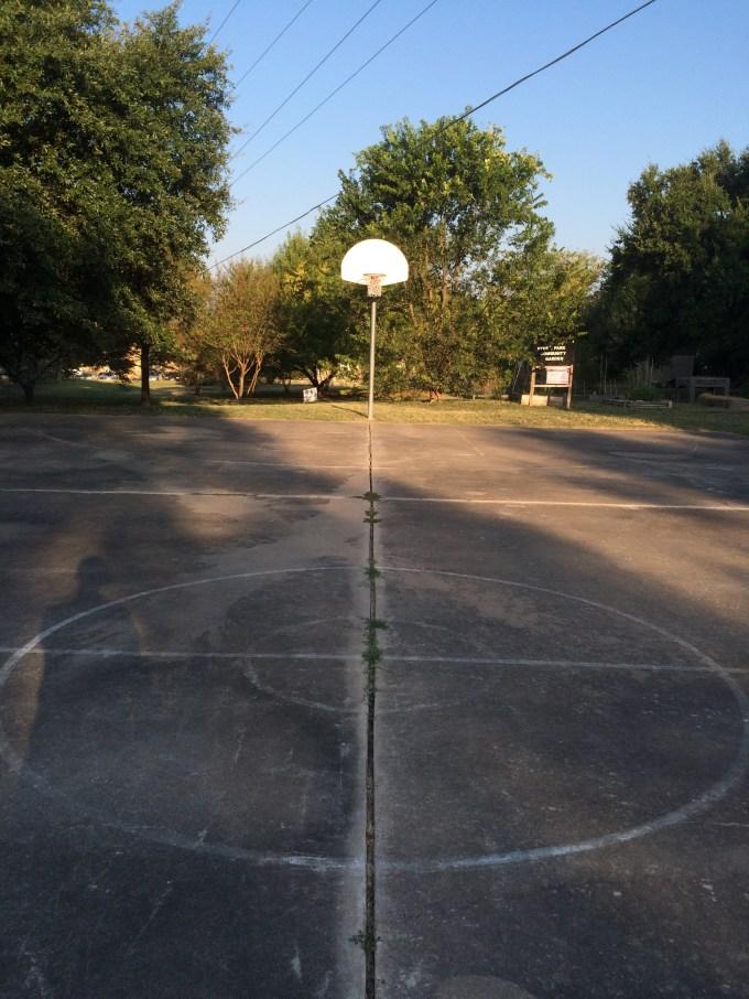 Pre-chalk center court circle