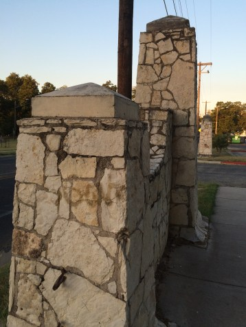 Stone gates at an entrance to Rosewood Neighborhood Park