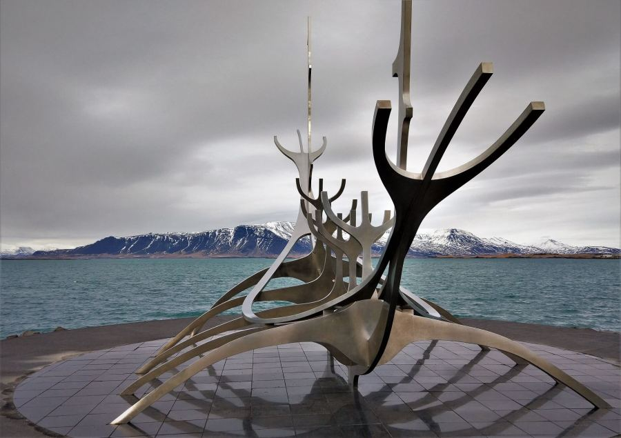 The Sun Voyager with the Esja mountains. Reykjavik