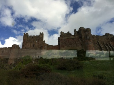 Bamburgh Castle viewed from tour bus