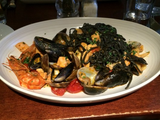 Squid ink seafood pasta