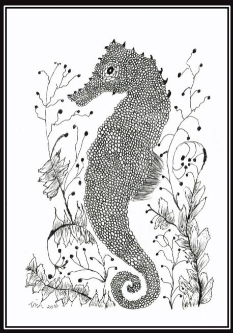 Seahorse drawing-drawn with my foot.