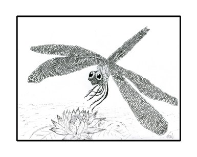 Dragonfly on a flower drawn with my foot.