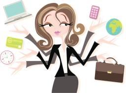 Business woman juggling tasks
