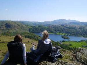 A well deserved rest with a view over the Lake Districts - 70km of hiking in 2.5 days!