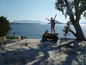 Cruising around Aegina on a quad bike..