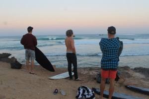 The boys getting ready for an early morning surf – the sun was still rising..!