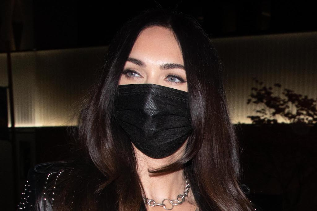 Megan Fox Goes Biker-Chic in a Studded Trench Coat, Distressed Jeans & Platform Heels