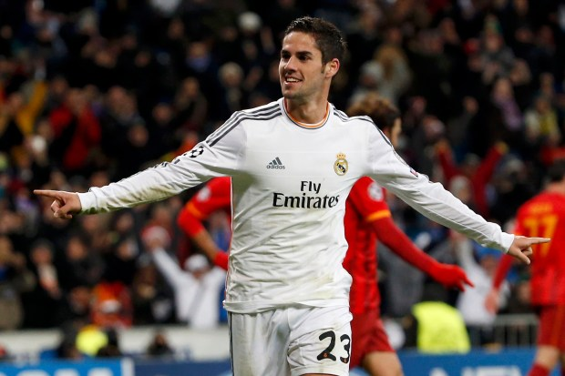 """Real Madrid's """"Isco"""" celebrates after scoring a goal against Galatasaray during their Champions League soccer match in Madrid"""