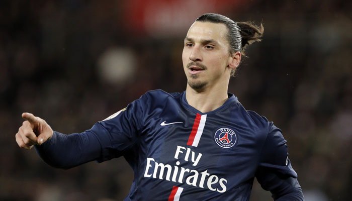 Paris Saint Germain's Zlatan Ibrahimovic gestures during their League One soccer match between Paris Saint Germain and Montpellier,  at Parc des Princes stadium, in Paris, Saturday, Dec. 20, 2014. (AP Photo/Francois Mori)