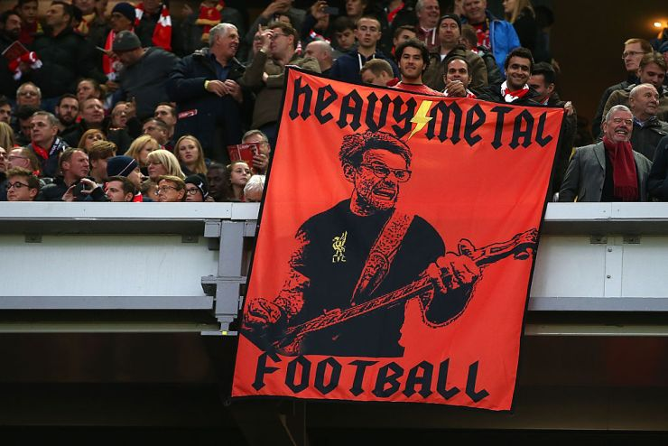 LIVERPOOL, ENGLAND - OCTOBER 22:  A Jurgen Klopp flag during the Premier League match between Liverpool and West Bromwich Albion at Anfield on October 22, 2016 in Liverpool, England.  (Photo by Jan Kruger/Getty Images)