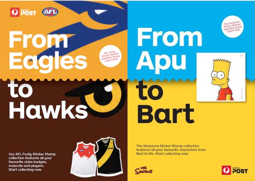 Proposed AFL and Simpson Sticker Stamps