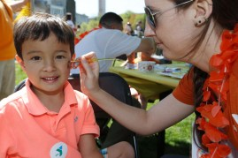 Children had their faces painted by event volunteers