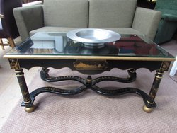 2x antique vintage oriental chinoiserie decorated coffee tables code tb221 sussex