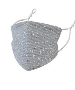 Mascarilla plateada de algodón y lentejuelas
