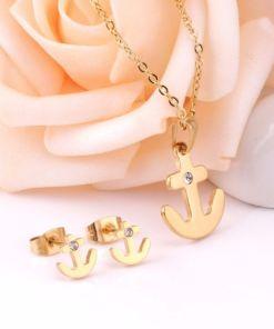 Conjunto cadena con colgante y pendientes Ancla con piedra
