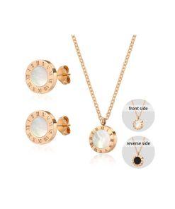 Conjunto  collar y pendientes diseño números romanos con nacar
