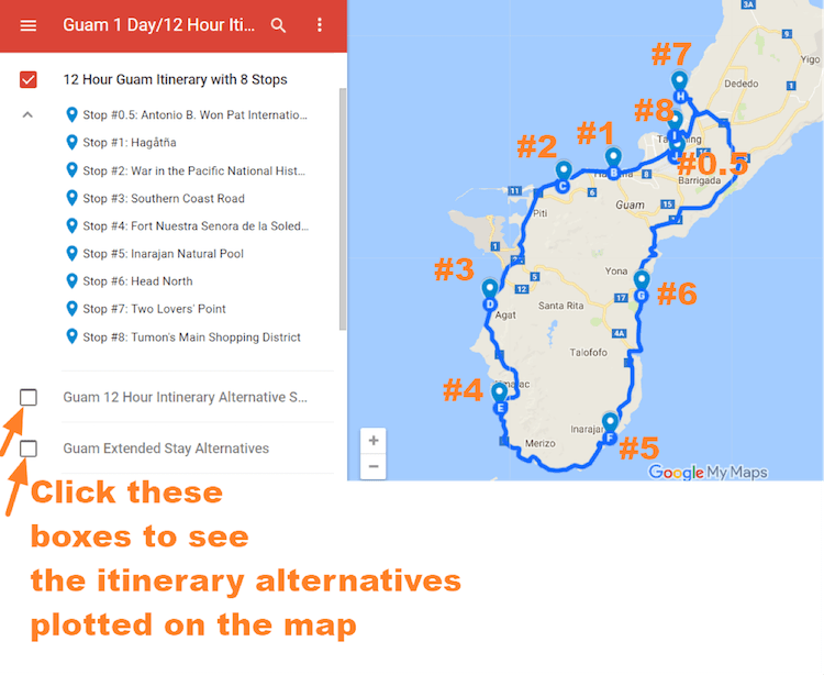Guam Itinerary map