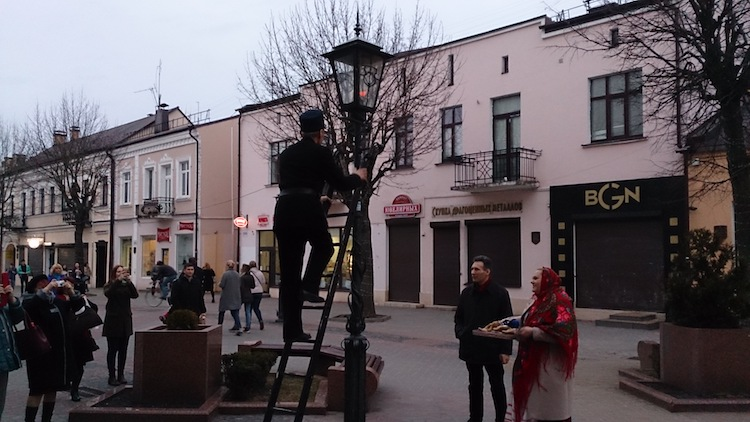Brest light man streetlamp Belarus 2
