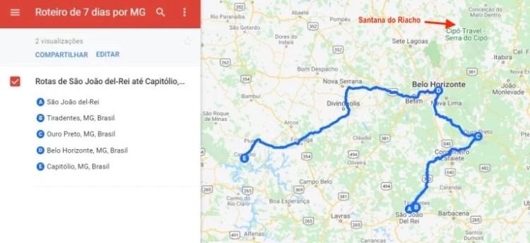 Mapa de roteiro de viagem por Minas Gerais