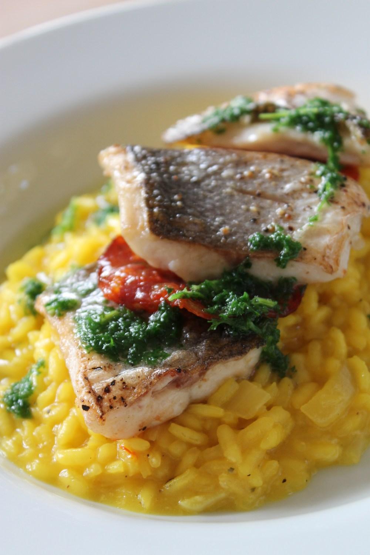 Saffron Risotto, Sea Bass, Parsley Oil