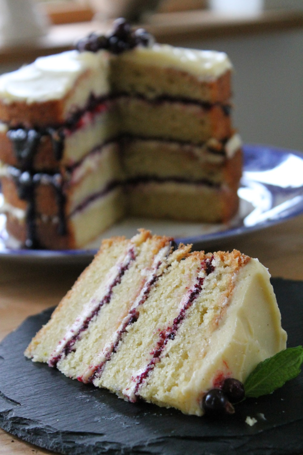 Lime Layer Drizzle with Blackcurrant and White Chocolate