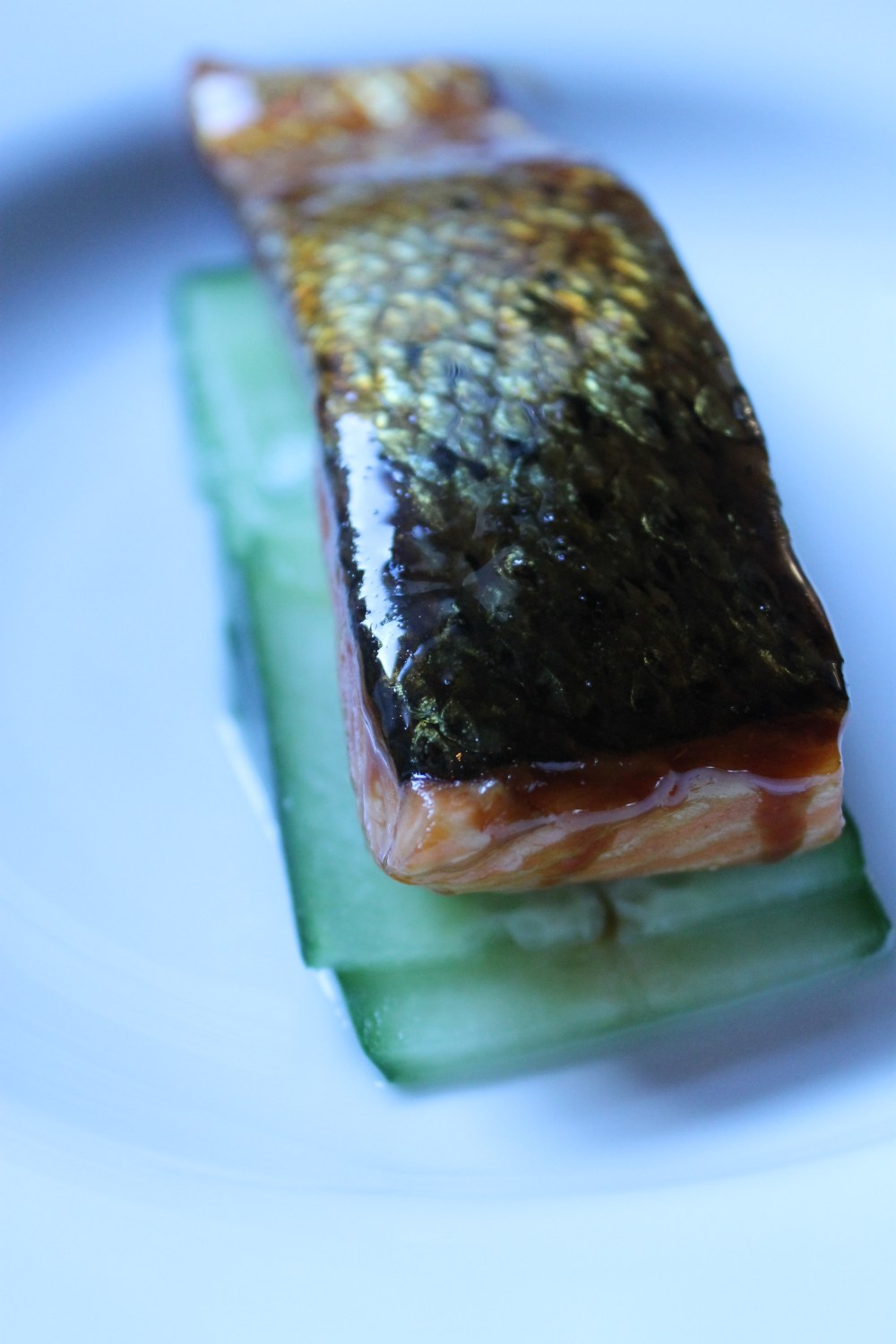 Glazed Salmon, Asian Greens, Sesame Cucumber