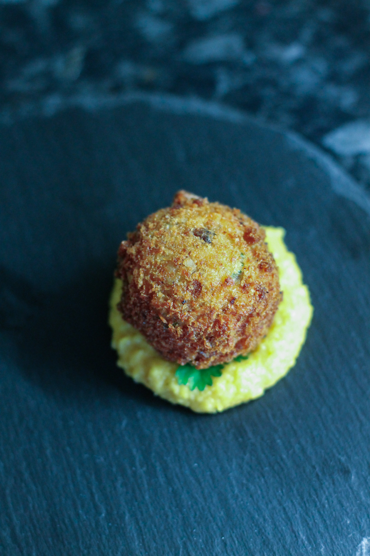 Asian Crab Bon Bons with Miso Sweetcorn Puree