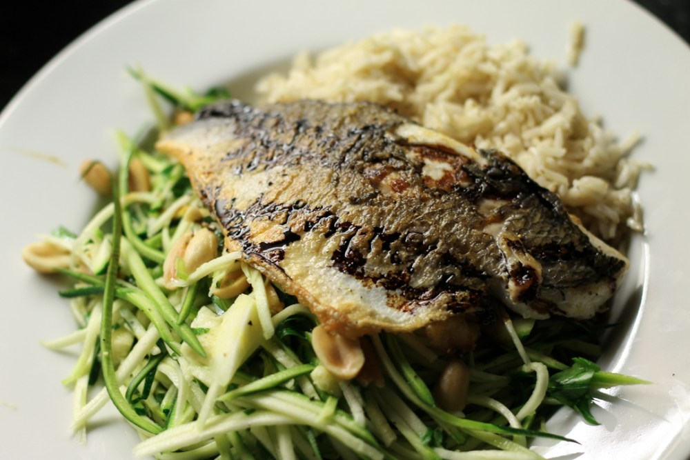Asian Sea Bream and Raw Courgette Noodles
