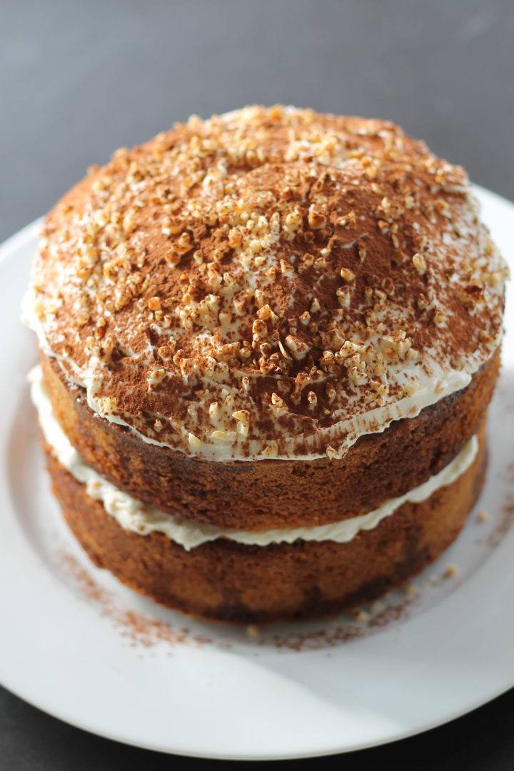 Coffee Drizzle Cake with Hazelnut Mascarpone