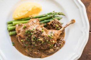 Braised Pheasant Legs with Morel Mushroom Sauce