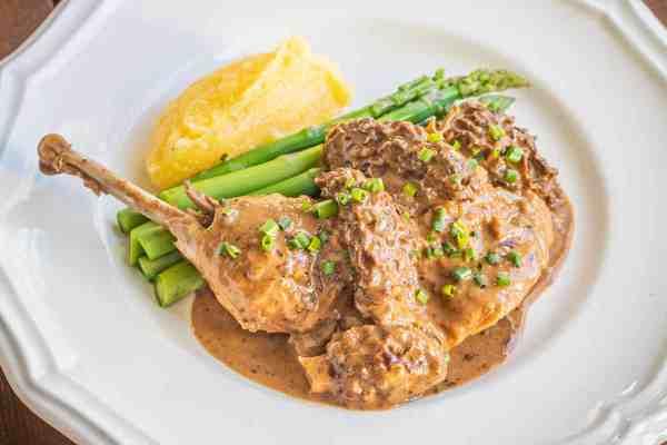 Braised Pheasant Legs with Morel Mushroom Sauce