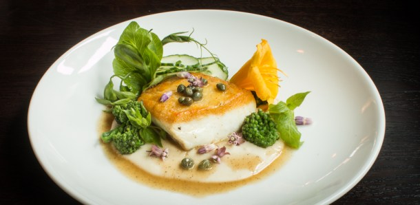 Halibut With White Bean Puree, Chickweed, Milkweed, and Flowers