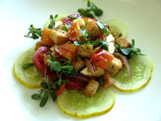 purslane panzanella with golden cucumbers and heirloom tomatoes recipe