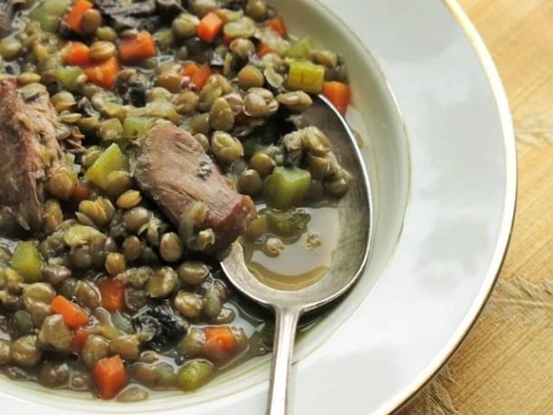 pheasant, bolete, and lentil soup