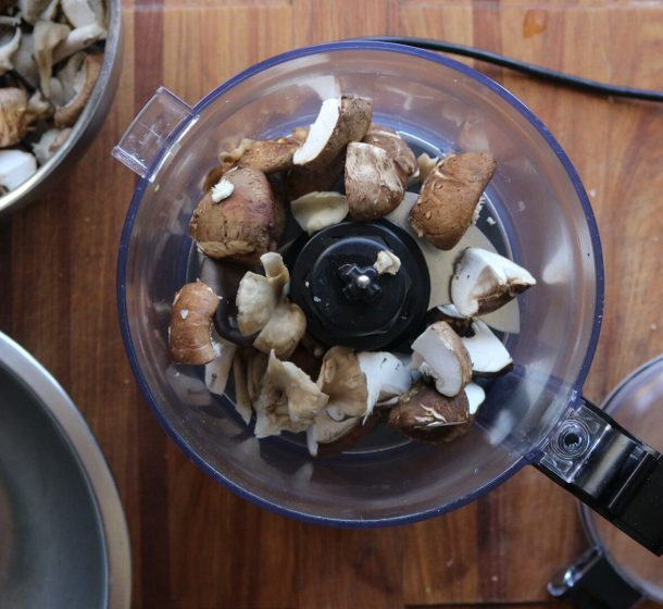 Pulsing mushroom duxelles in a food processor