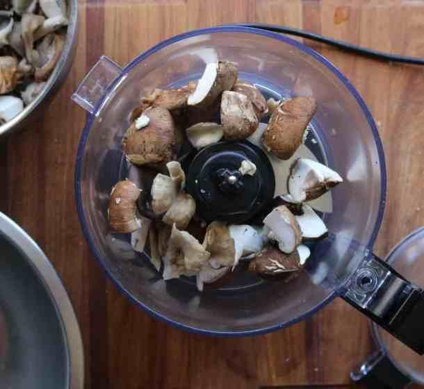 Pulsing mushroom duxelles in a food processor