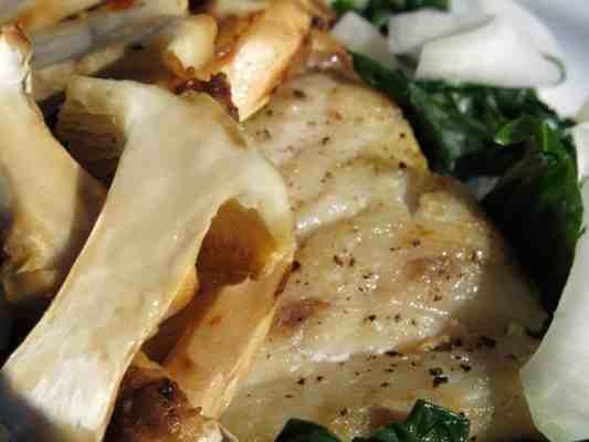 matsutake mushroom smothered grouper with kohlrabi and spinach