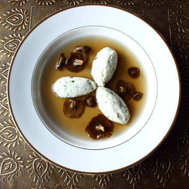 yellowfoot chanterelle consomme with northern pike mousseline dumplings