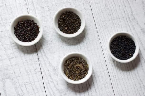 black lentils, black rice, black barley, wild rice,